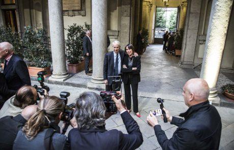 l'arrivo del Sindaco Giuliano Pisapia con sua moglie Cinzia Sasso