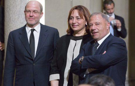 Massimo Gramellini (giurato) con Michele Albanese (premiato) e la moglie